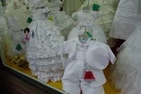 Store display of children's party clothes