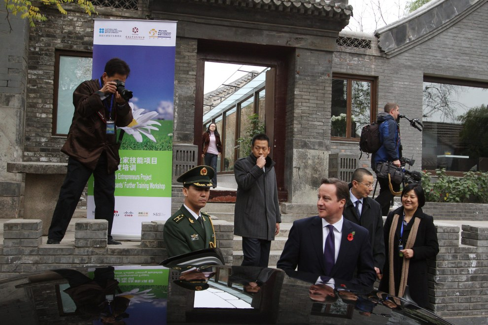 British Prime Minister David Cameron visiting the hutongs of central Beijing, China. 2010