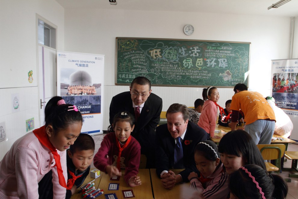 British Prime Minister David Cameron talks to schoolchildren. 2010