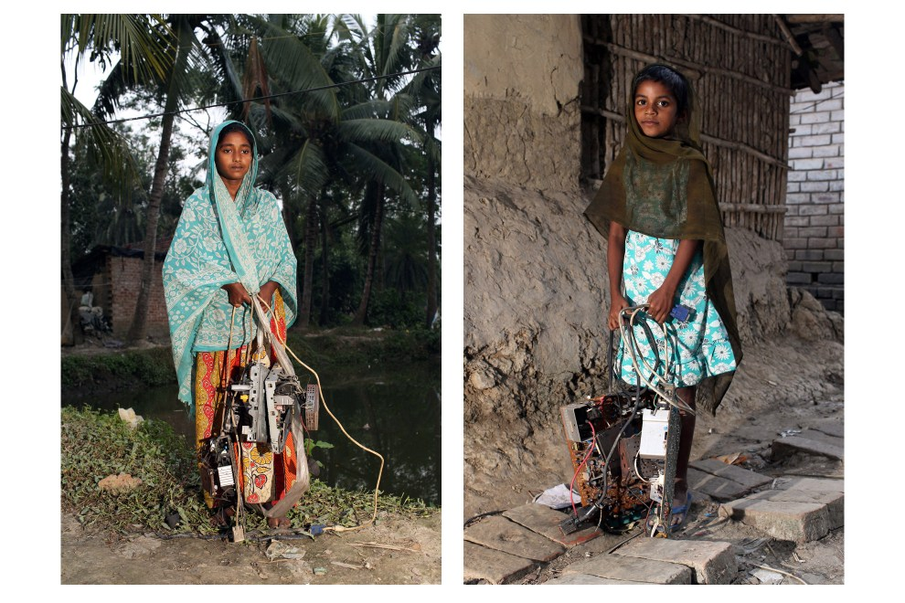 In the village of Sangrampur near Kolkata, young girls carry E-Waste which they will deliver to their families nearby who are involved in the recycling process. Lead, mercury, arsenic and other toxic elements are released in the breakdown process and those who handle the waste have little to protect themselves from the harmful materials.