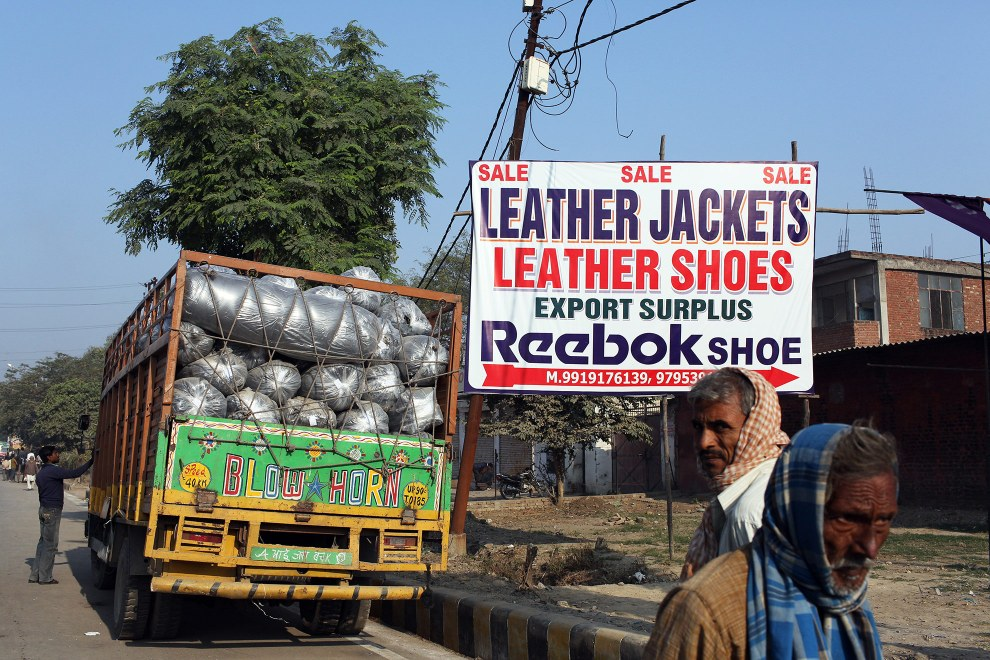 A Reebok export surplus store in the Jajmau area of Kanpur. Leather from the nearby polluting tanneries is used for making a variety of leather products including shoes, bags and clothes.