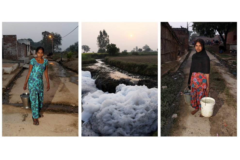 (Left & Right) Women from villages on the outskirts of Kanpur collect water from wells that have been sunk deep into the ground. It is feared that the severe pollution has penetrated the groundwater, allowing many harm toxins to enter the water and food chain. (Center) Tannery waste water accumulates on farmland near to the village.