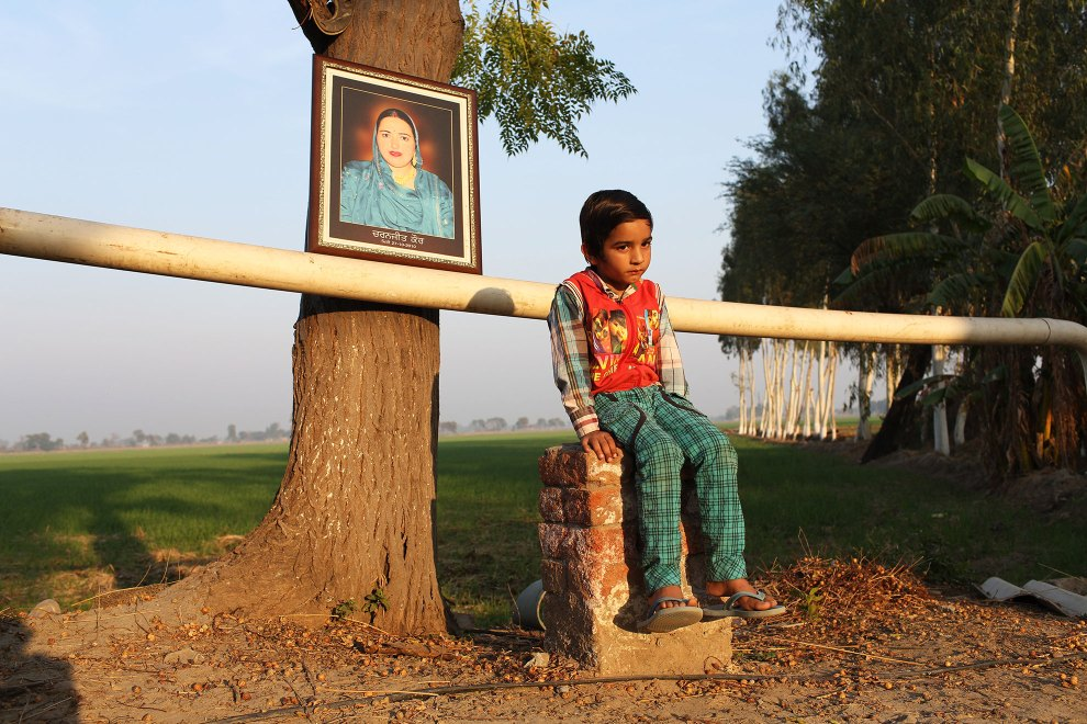 Harmangod Singh (6) sits next to a portrait of his mother, Charnajeet Kaur, who died in 2010 of brain cancer, aged only 31. It is believed that excessive pesticide use in the region over the past 30-40 years has led to the accumulation of dangerous levels of toxins such as uranium, lead and mercury which are contributing to increased health problems including cancers, birth defects and mental disabilities in children. It's a hidden epidemic which is gripping the Punjab region in northeast India which for decades has been the country's 'bread basket'.