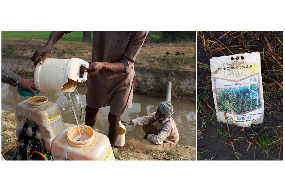 (Left) Farmers prepare a fertiliser to sprayed onto nearby fields. (Right) A used bag of insecticide lies discarded in a field.