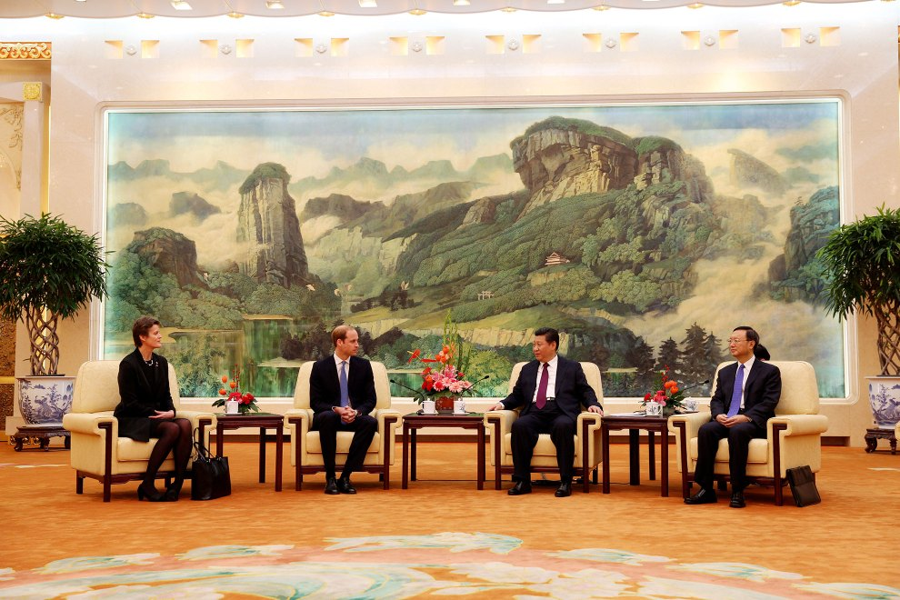 HRH The Duke of Cambridge meets with Chinese President Xi Jinping in the Great Hall of the People in Beijing, China.