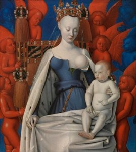 Agnès Sorel, known to appear topless in the French court, was the model for Virgin and Child Surrounded by Angels, by Jean Fouquet (c. 1450)