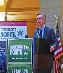 Attorney Thomas Gallagher speaking at Minnesota Capitol Rotunda on 4-20