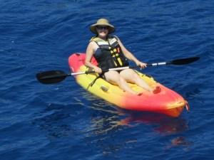Debbie Kayaking from the ships water sports platform