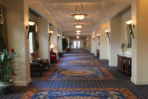 Hallway of portraits at Washington Duke Inn