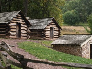 Replicas of some of the thousands of soldiers quarters built by Revolutionary War  troops at Valley Forge.
