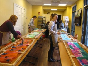 Designing Silk Painted Scarves at The Lodge, Woodloch.