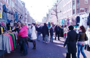 In Amsterdam, the Albert Cuyp street market.