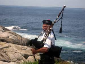 Bagpipe serenade on Nova Scotia's famous cliffs at Peggy's Cove