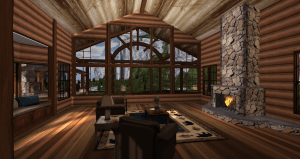 Adirondack - Partial Mesh Log Home - Living Room