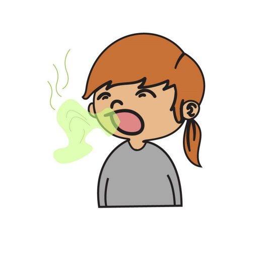 animated girl exhaling bad breath