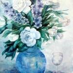 buket i blå og hvide farve