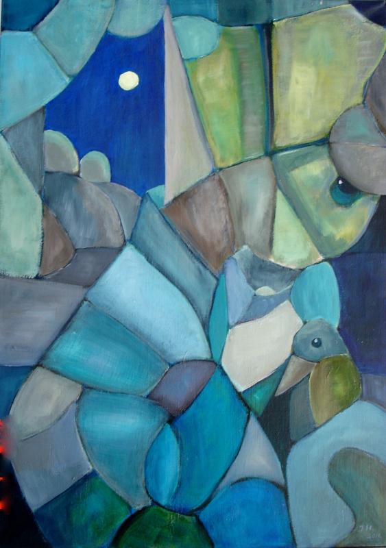 Måne og fugl