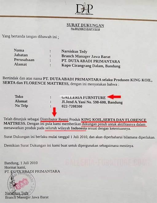 Distributor King Koil Bandung Jawa Barat