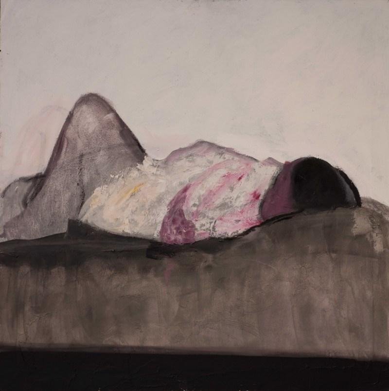 Figura sdraiata, olio su tela, 90x90 cm