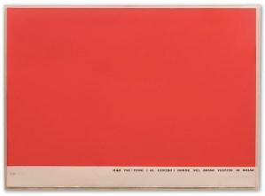 Emilio Isgrò, Mao Tse-Tung (al centro) dorme nel rosso vestito di rosso, 1974, cm 50x70, serigrafia su carta es. 76/100, dalla cartella Storie Rosse ed. Nino Soldano