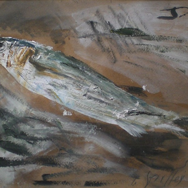 Guido Tallone, Fish, 1950s, cm 24,5x32,5, oil on cardboard