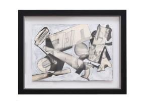 Paolo Schiavocampo, Composizione, 1965, cm 35x49,5, tecnica mista su carta