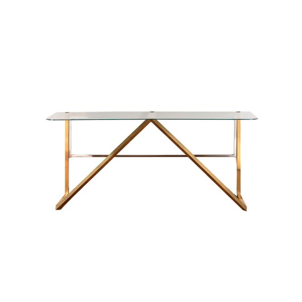 '60s console, 162x47x74,2h cm, glass and brass