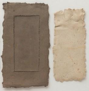 Nanni Valentini, Trasparenza 21B, cm 43.5x63.5, opera su carta con inserti in terracotta