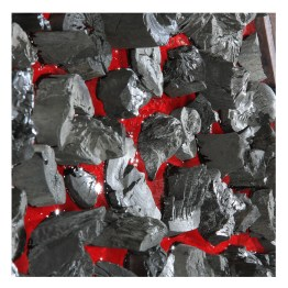 Charcoal No 02. Floating Islands series. 70 cm x 100 cm x 8 cm. Red coloured resin, charcoal. Detail. € 6 300