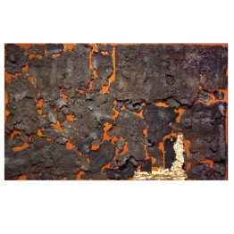 "No 02. Floating Island series. 60 cm x 96 cm x 5 cm. Orange coloured resin, plasma-cut wrought iron ""crusts"", gold leaf. € 6 000"