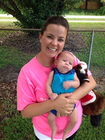 Mommy and Luc outside