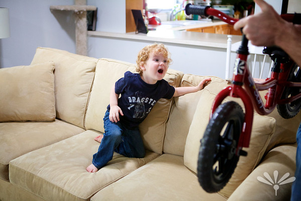 very excited about his bike