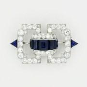 Art Deco Sapphire Diamond Brooch