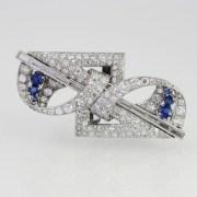 Sapphire Diamond Double clip Brooch