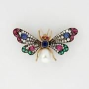 Multi Gem-set Butterfly Brooch