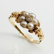 Diamond Pearl Cluster Ring