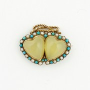 Chrysoprase Turquoise Pearl Brooch