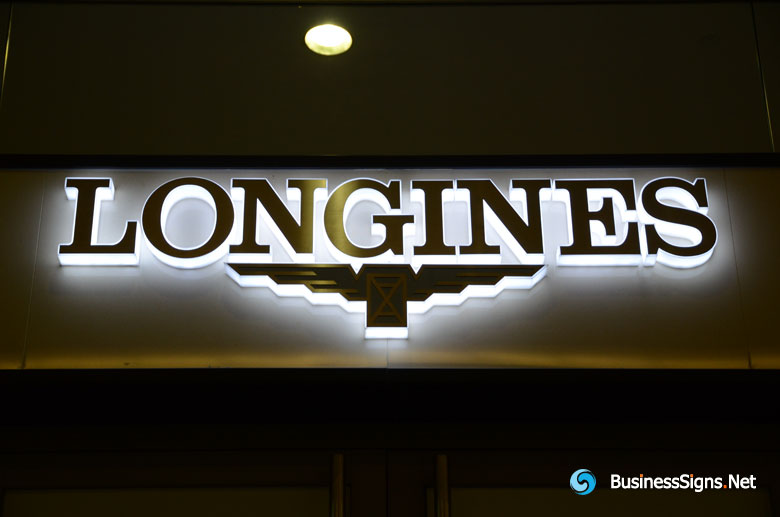 3D LED Side Lit Signs With Brushed Stainless Steel Front Panel For LonginesGallery