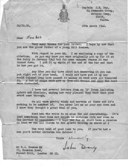 Letter to Sgt. Noakes MM 45RM Cdo.from Capt.John Day HQ