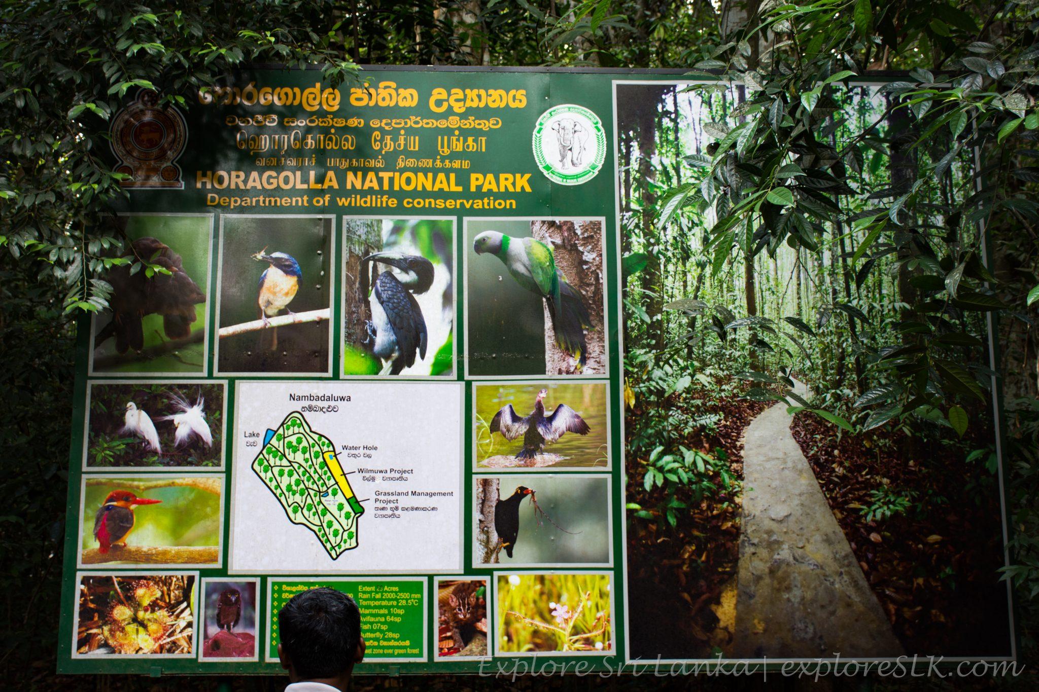 Horagolla National Park sign board