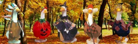 Stuffed Goose costumes for concrete geese