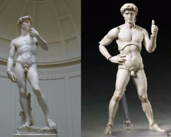 An action figure of Michelangelo's David