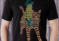 Cowboy Cat Riding another Cat