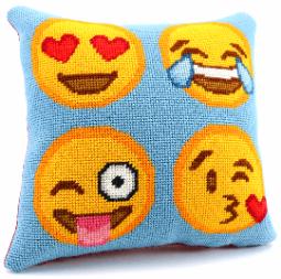 emoji needlepoint pillow