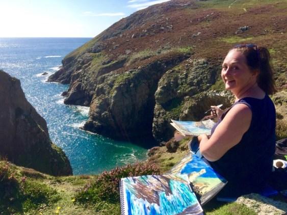 Sarah Jane Brown sketching on Ramsey Island