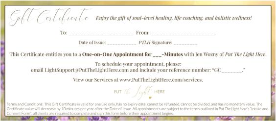 gift certificate, gifts, wellness gift, healing,