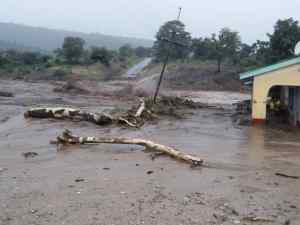 Flood damaged house and infrastructure