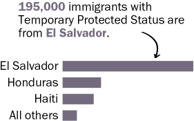 195,000 immigrants with Temporary Protected Status are from El Salvador.
