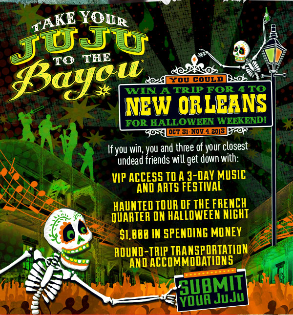 Take Your JuJu to the Bayou - We're giving away a ghoulishly great trip to New Orleans Halloween weekend, October 31st to November 4th.