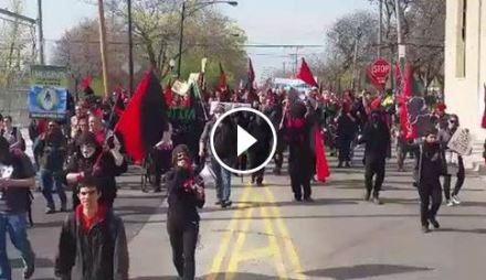 May Day march heading into Pilsen